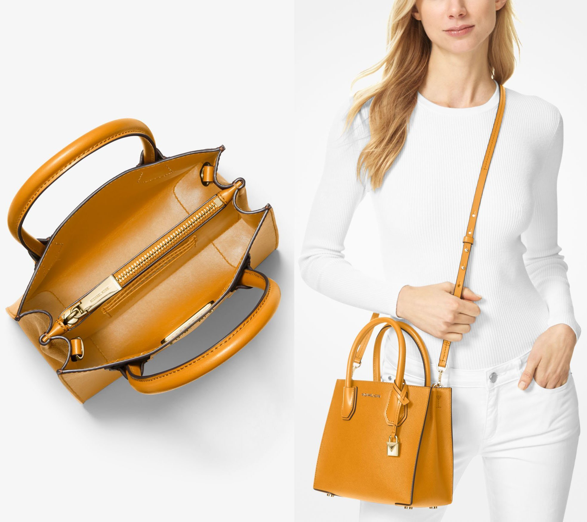 It features a detachable crossbody strap and double top handles, allowing you to carry it in two ways