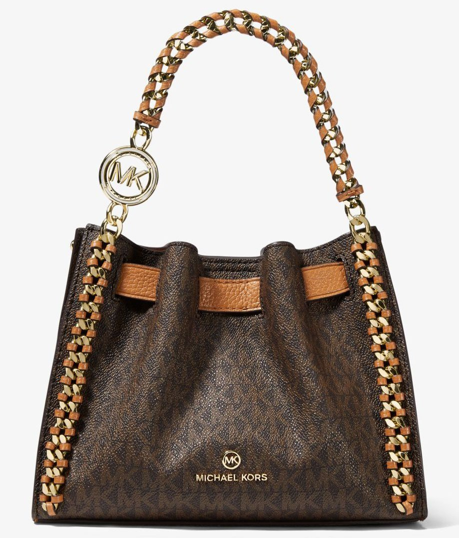 Redefining classic satchel silhouette, the Michael Kors Mina features eye-catching braided chain accents on logo-print coated canvas