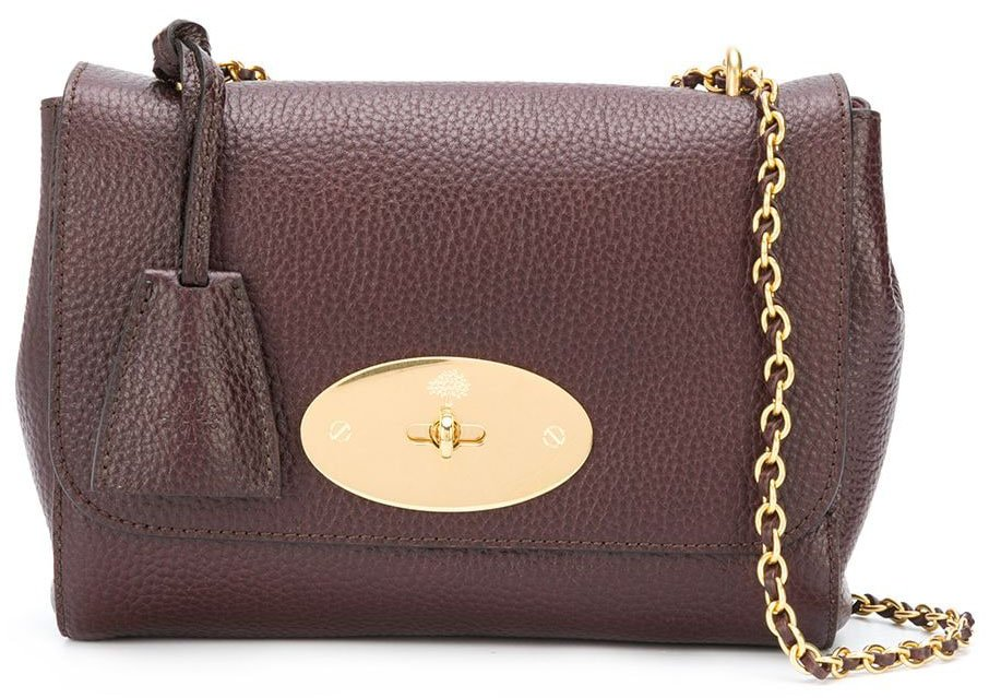 The elegant Mulberry Lily features a logo plaque with a postman lock and a chain-and-leather strap