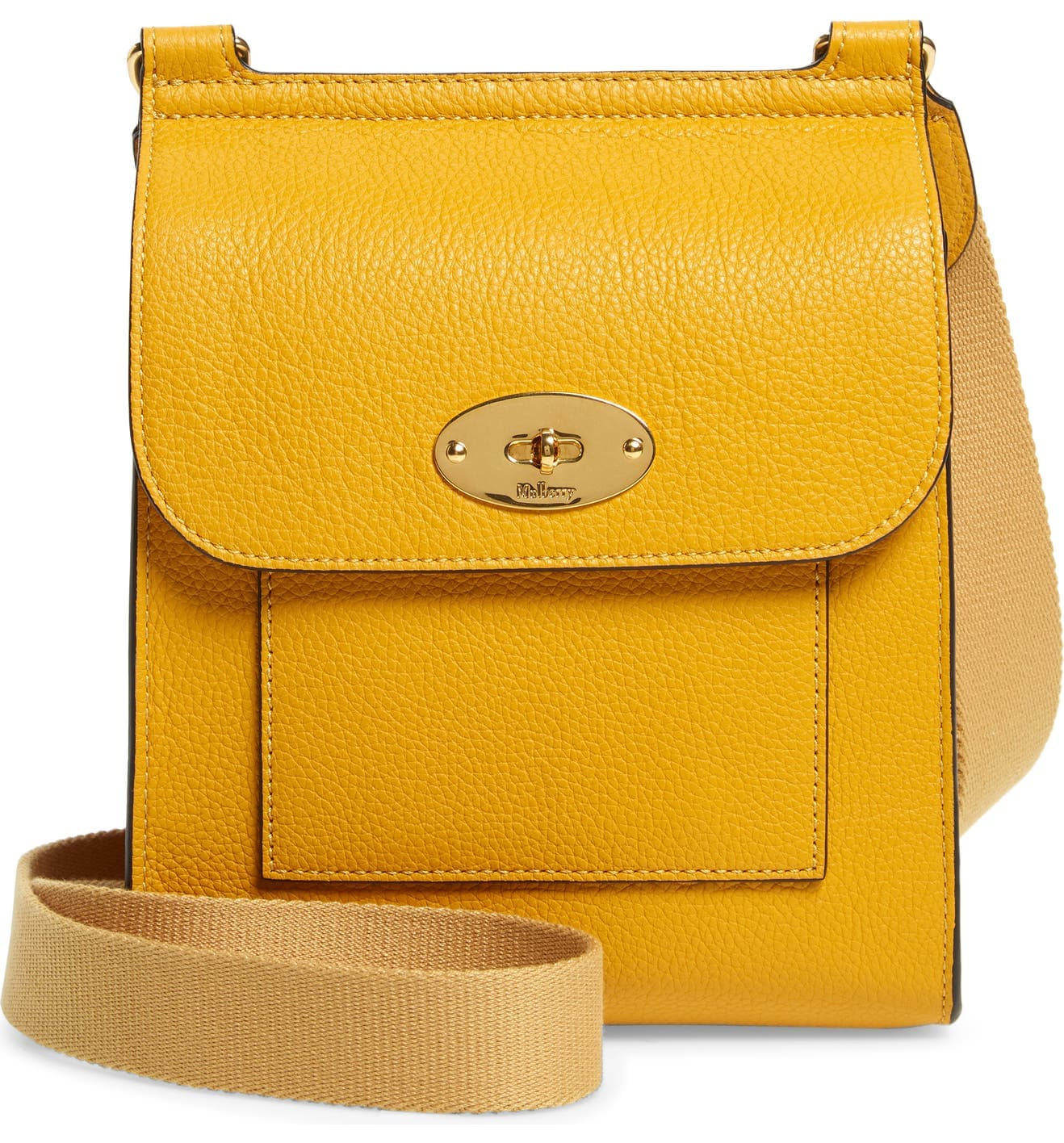 Mulberry's Antony bag is a sleek crossbody bag that has the brand's signature turnlock closure on the flap