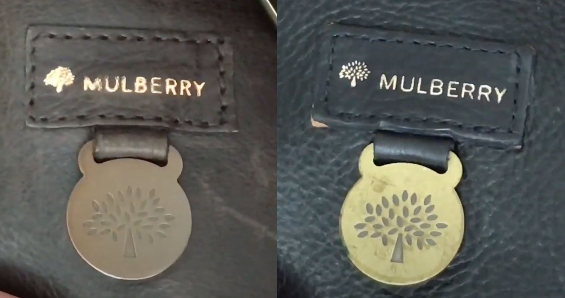 Done in the label's signature Sans Serif font, the Mulberry heat stamp on the real Mulberry handbag (left) is thicker compared to the fake one (right) as seen on Chicprofessor's YouTube channel
