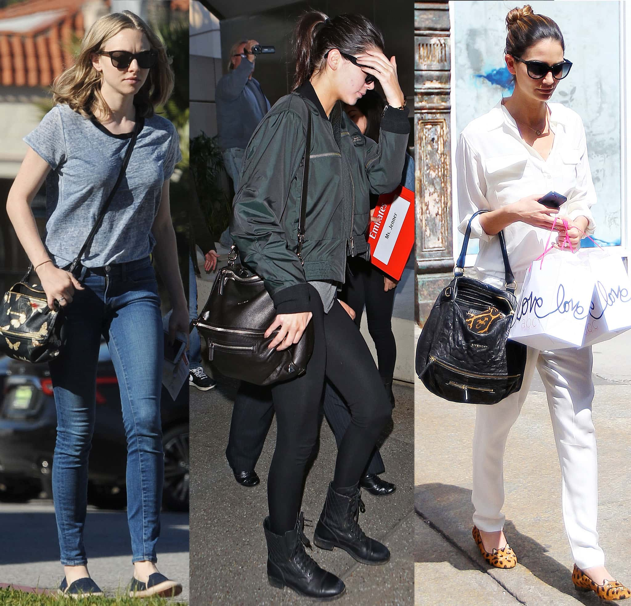 Amanda Seyfried, Kendall Jenner, and Lily Aldridge carrying different styles of the Givenchy Pandora bag