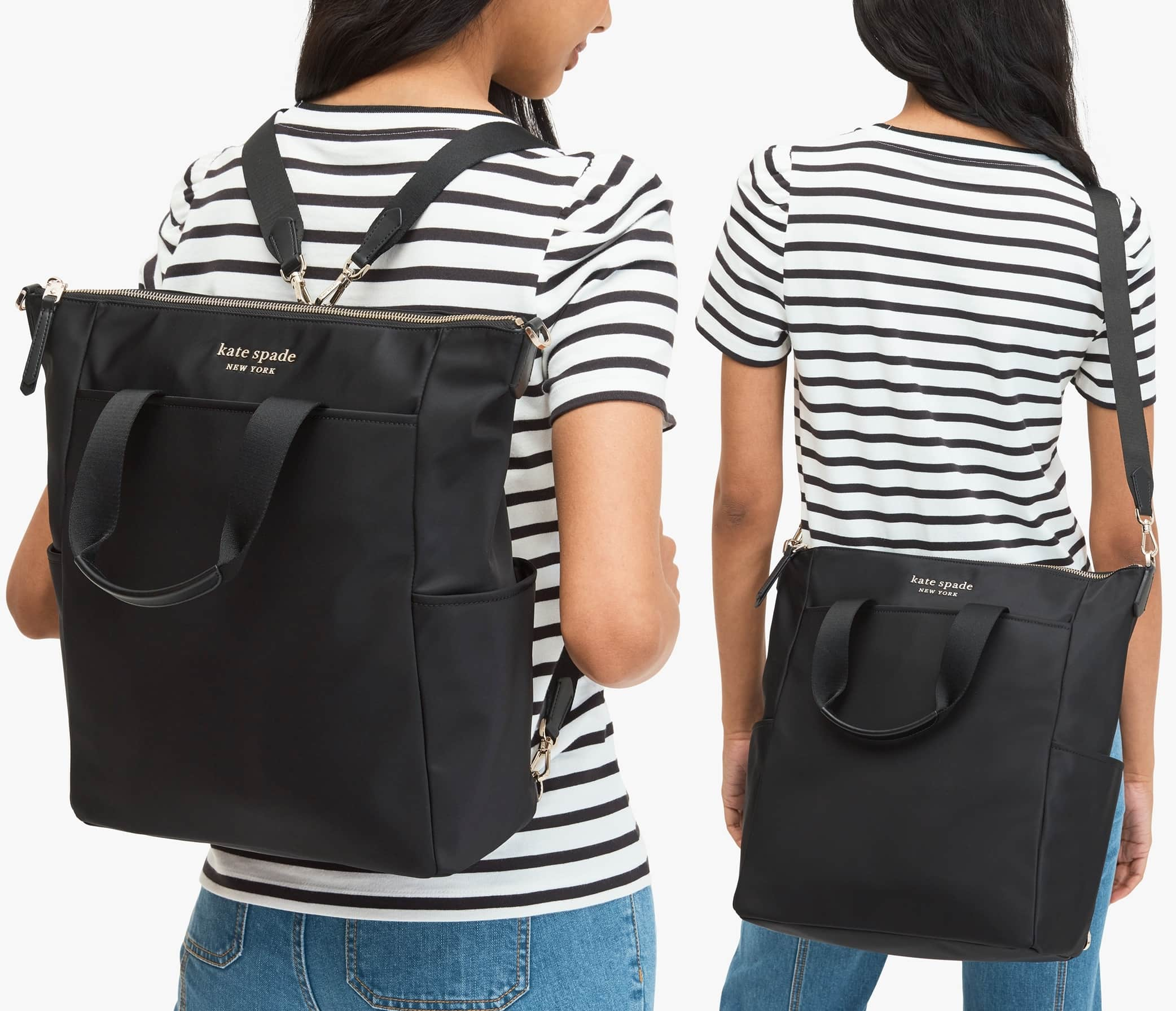 Gleaming hardware and smooth leather trim bring metropolitan-chic style to a glossy nylon backpack that easily converts to a sleek tote or crossbody bag