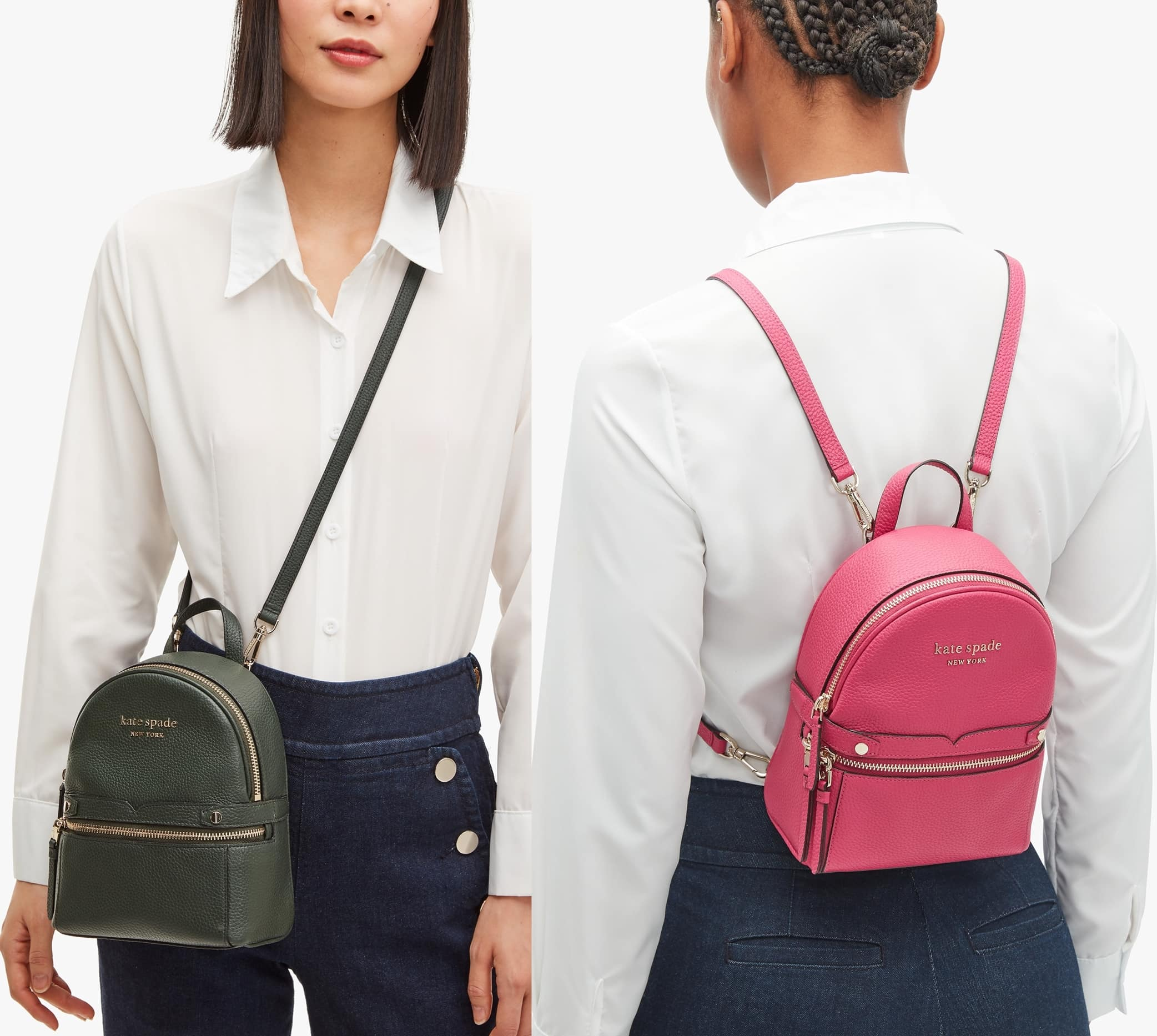 This mini convertible backpack can be transformed into a crossbody or shoulder bag