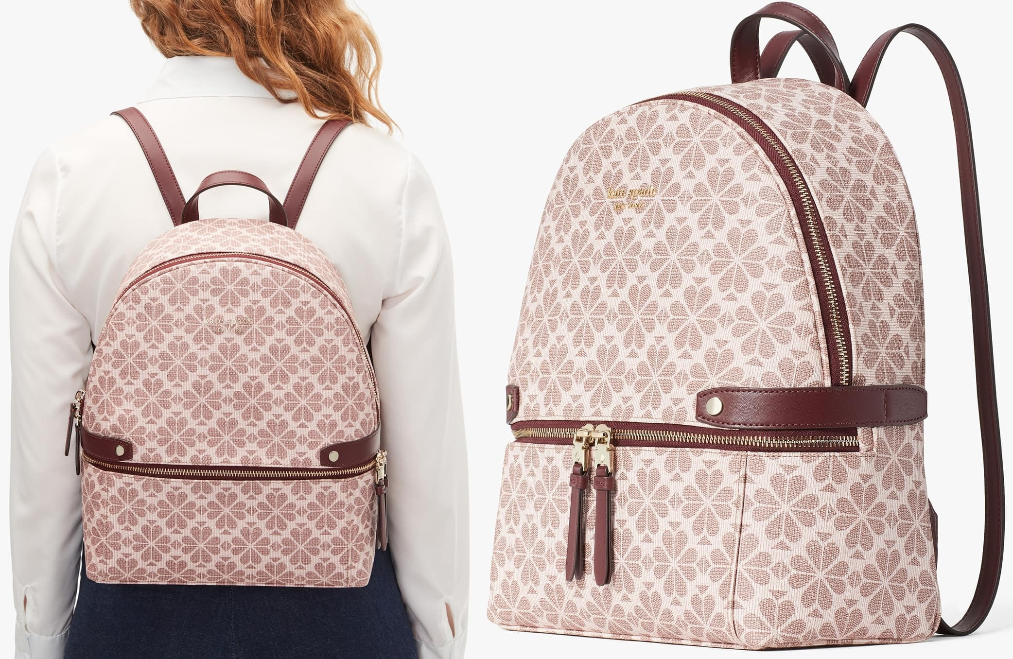 Inspired by jacquard textures of the 1950s, this pink backpack boasts lots of pockets on the inside and out