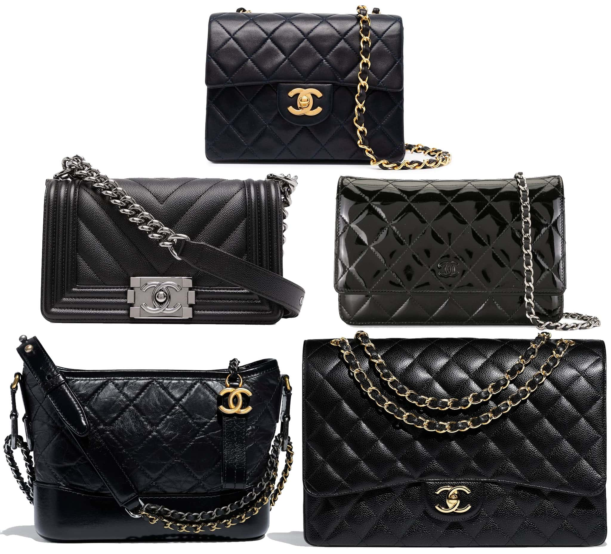 (Top) Chanel Classic Small Flap Bag, (middle) Chanel Small Boy Flap Bag and Chanel WOC, (bottom) Chanel Gabrielle Small Hobo Bag and Chanel Classic Maxi Flap Bag