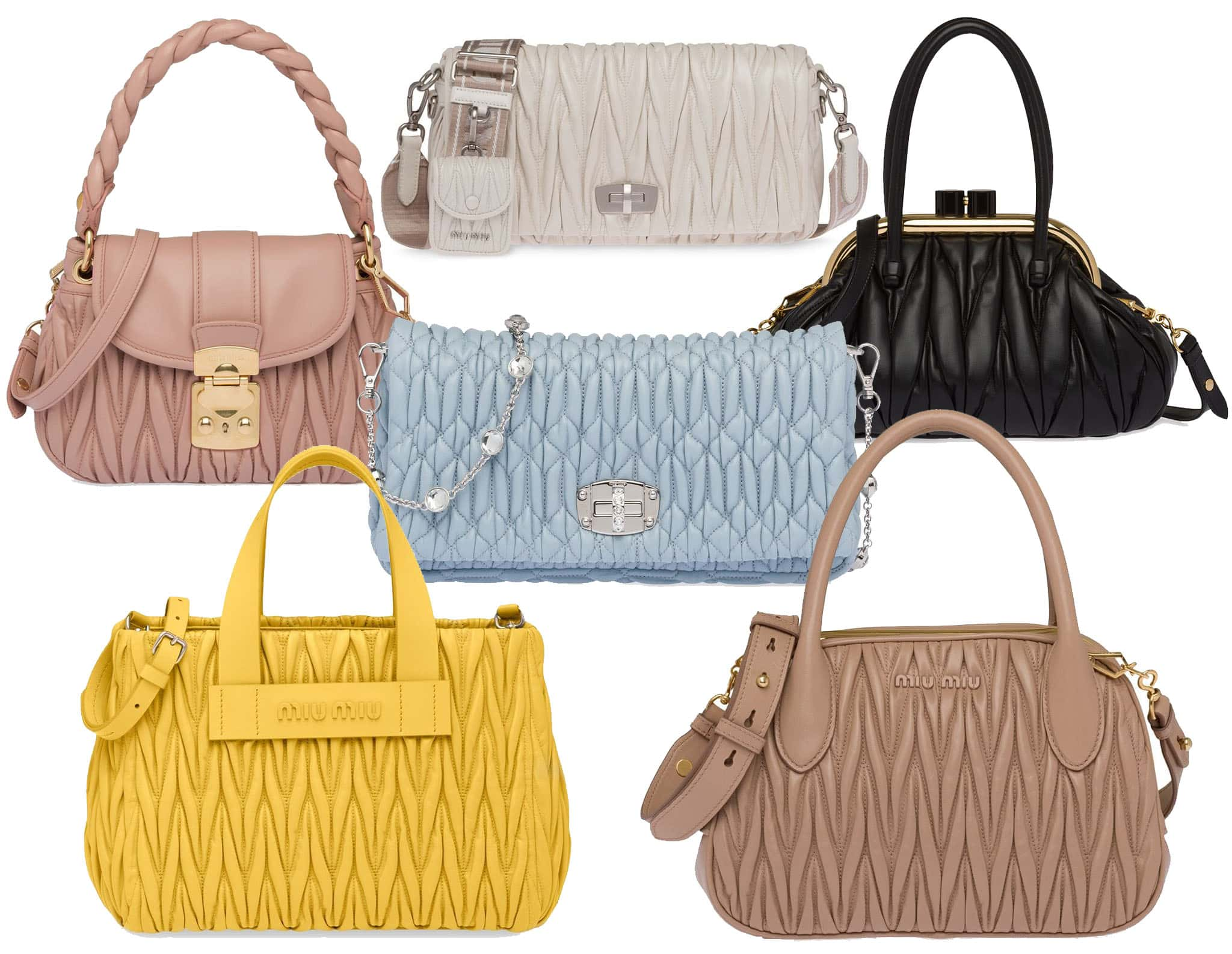 The quilted matelassé is one of the most iconic and popular bag designs from Miu Miu