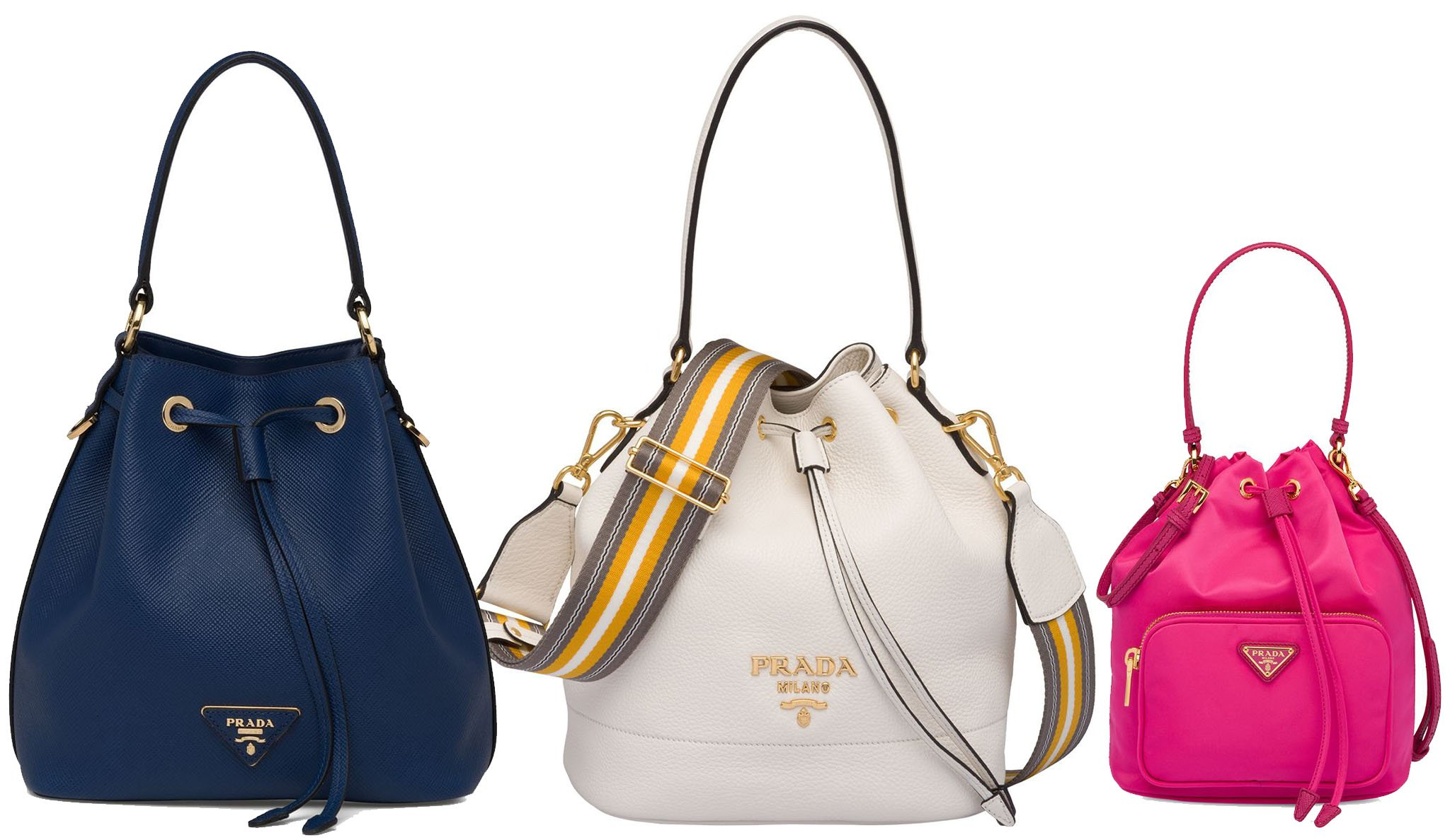 Prada Bucket bags in blue saffiano, white calf leather, and pink technical nylon