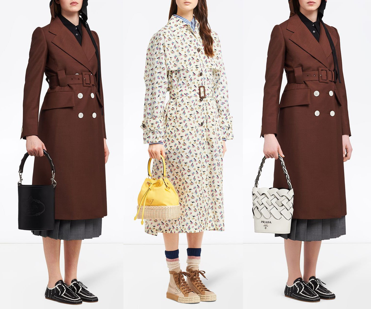 Prada also offers bucket bags in different styles, including one with a structured wooden handle, another with a wicker base, and a woven bucket bag