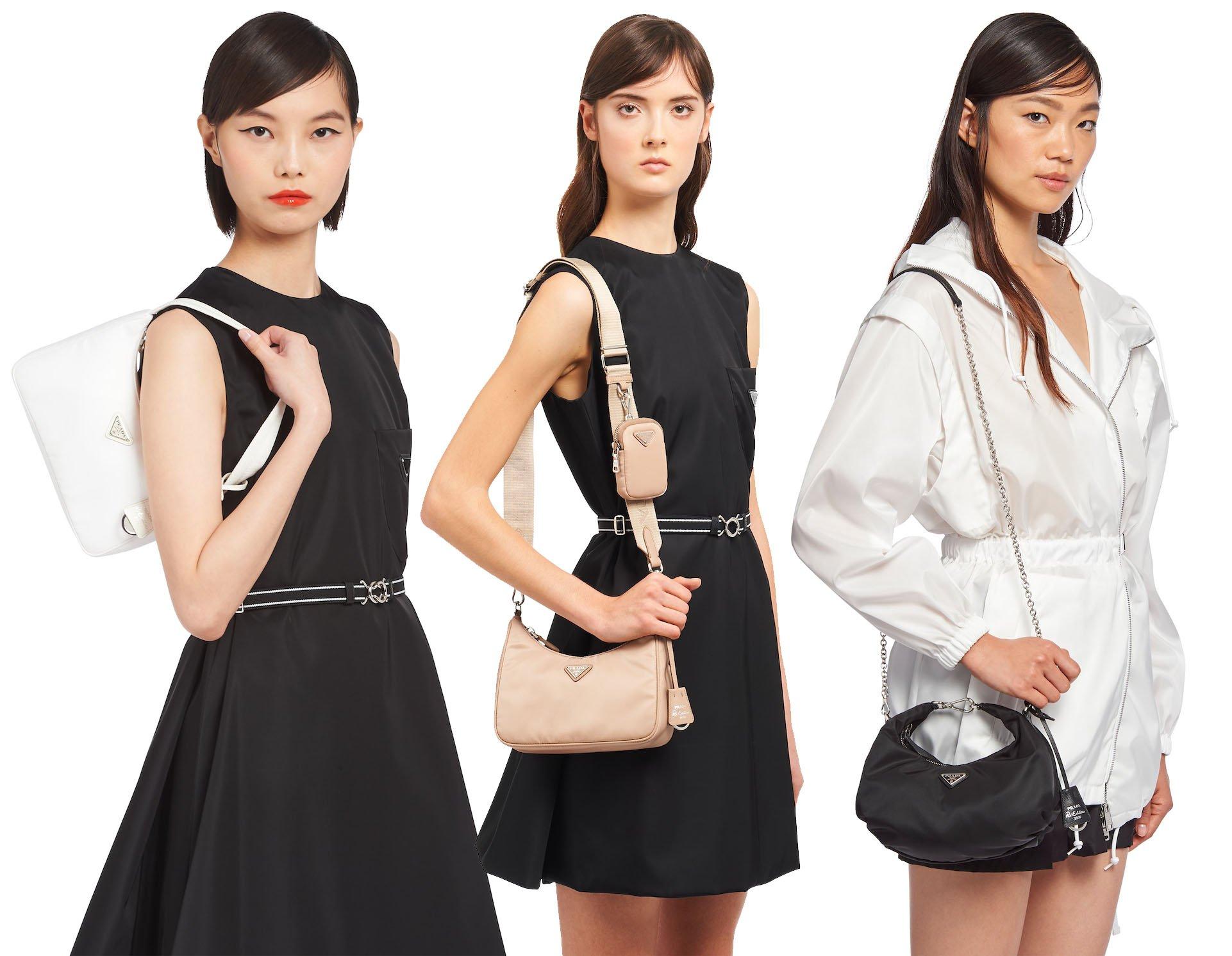 (Left to right) The Prada Re-Edition Nylon Mini from 2000, the Prada Re-Edition Nylon bag from 2005, and the Prada Re-Edition Nylon bag from 2006