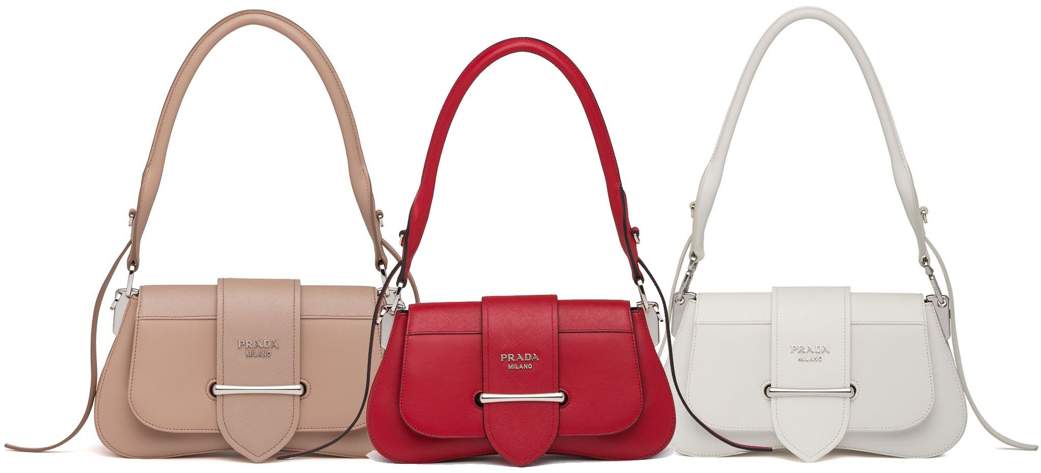 A sinuous line defines the saddle silhouette of the Prada Sidonie leather bag
