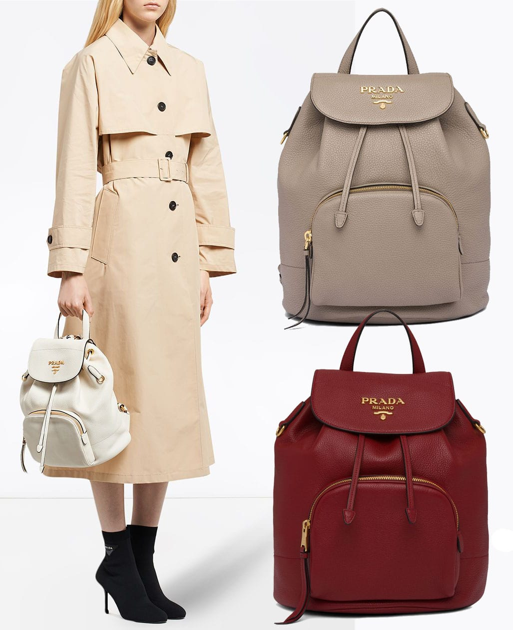 Prada also offers minimalist and timeless leather backpacks