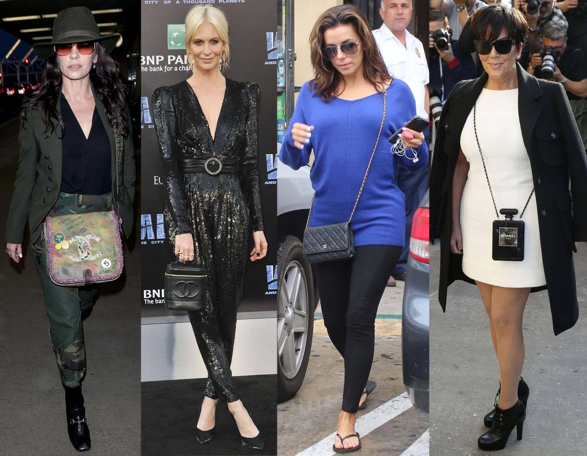 Catherine Zeta-Jones, Poppy Delevingne, Eva Longoria, and Kris Jenner carry different styles of Chanel bag