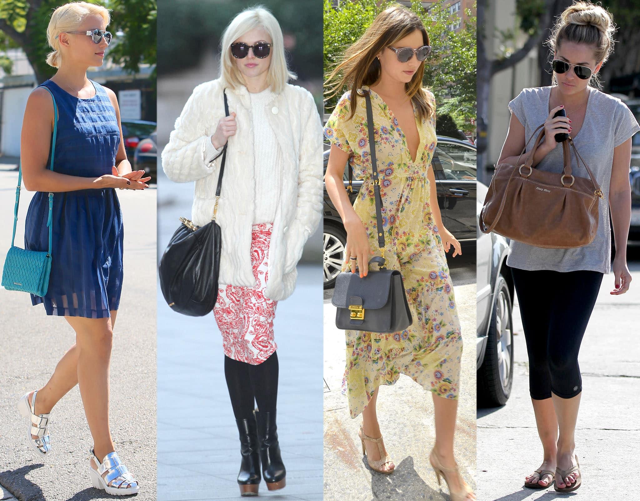 Dianna Agron, Fearne Cotton, Miranda Kerr, and Lauren Conrad carrying Miu Miu bags