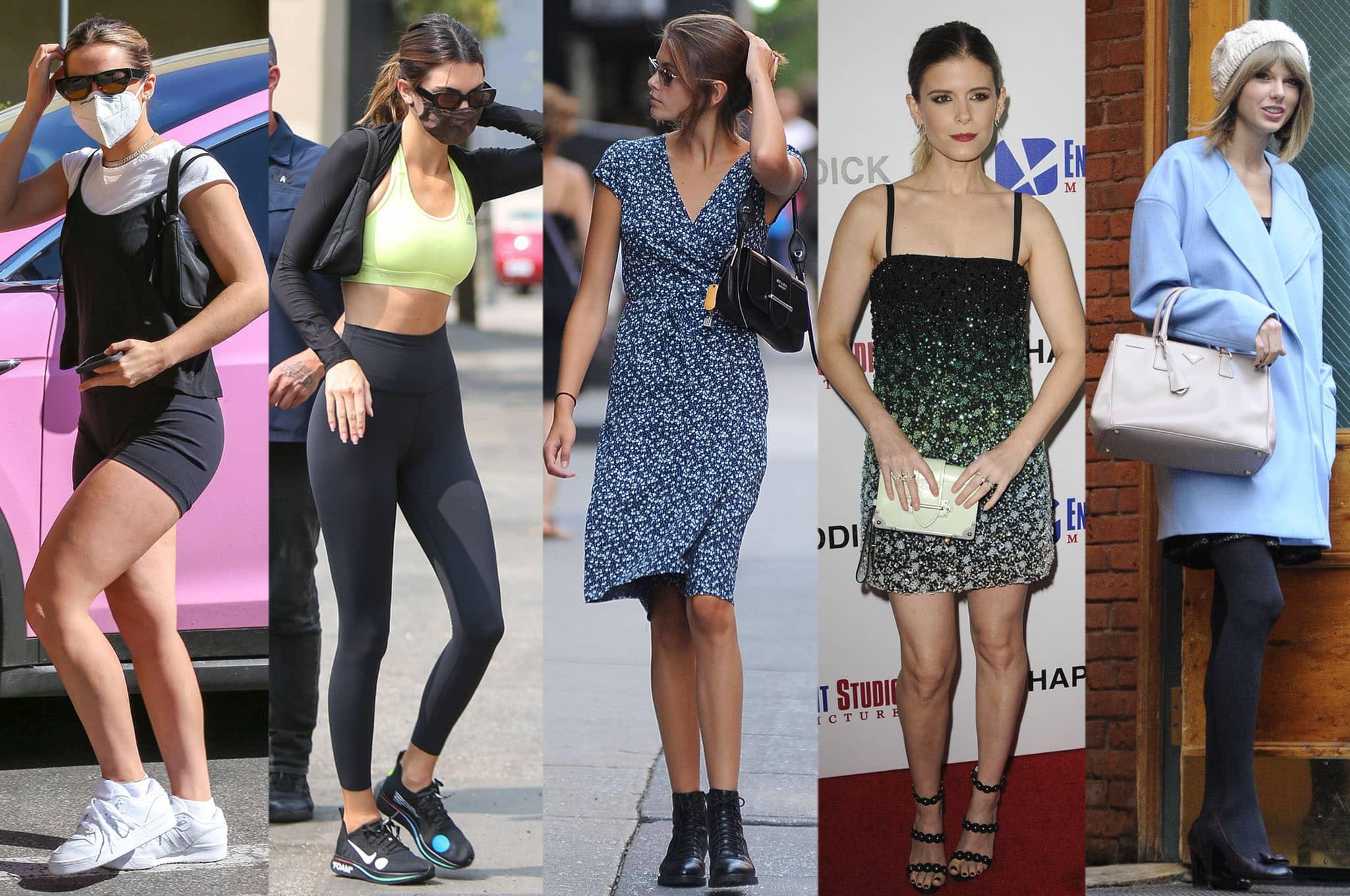 Addison Rae, Kendall Jenner, Kaia Gerber, Kate Mara, and Taylor Swift carrying Prada bags