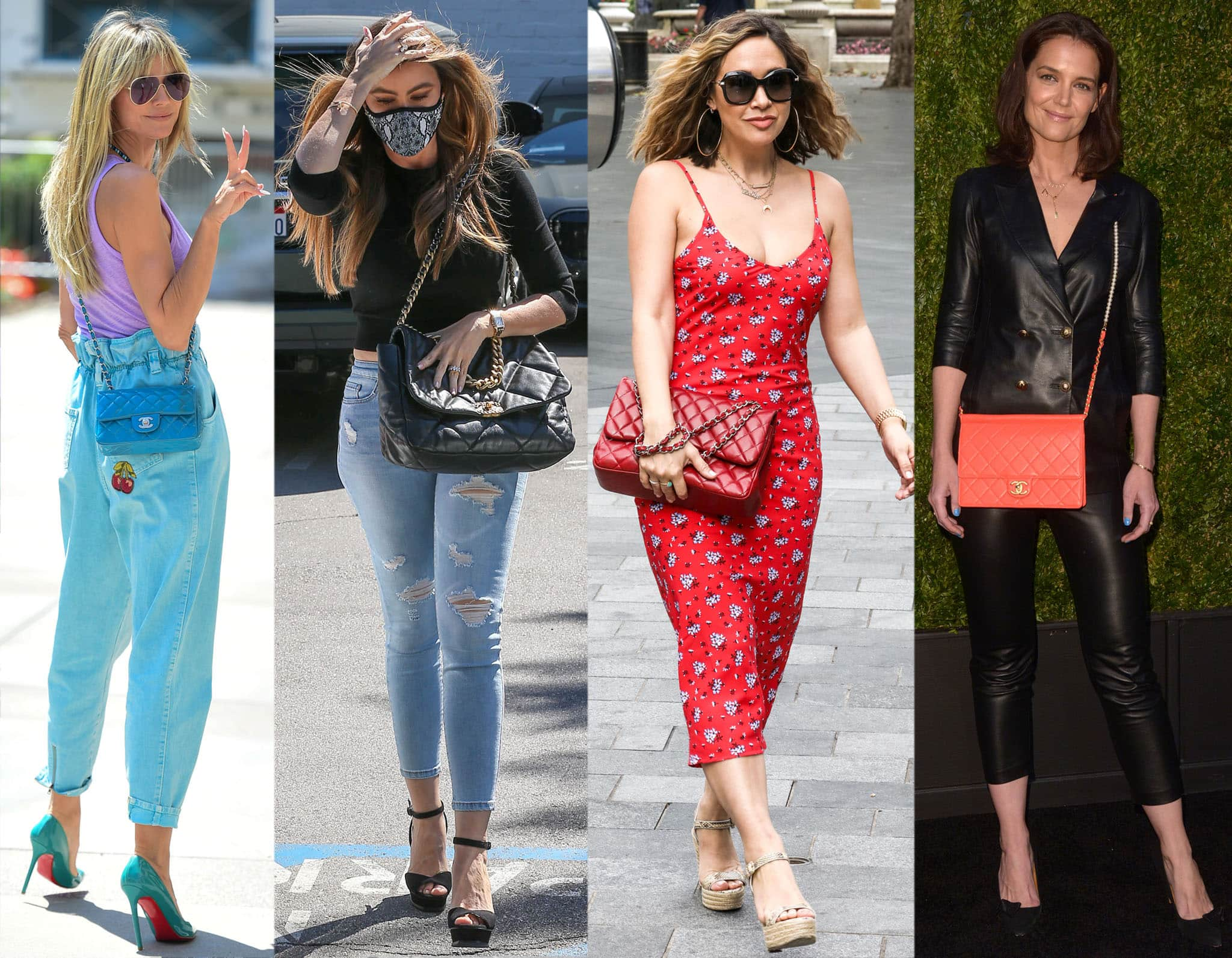 Heidi Klum, Sofia Vergara, Myleene Klass, and Katie Holmes carrying Chanel bags