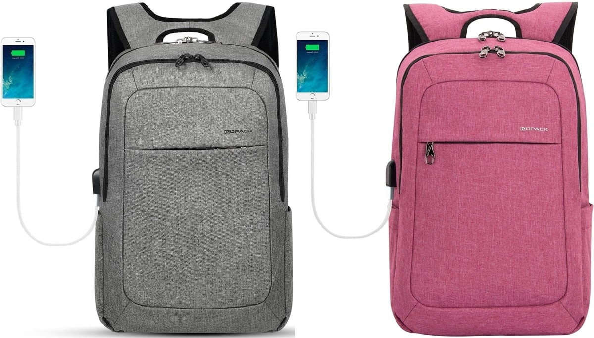This backpack features an external USB port with a charging cable that is convenient to charge your phone, tablet, or laptop