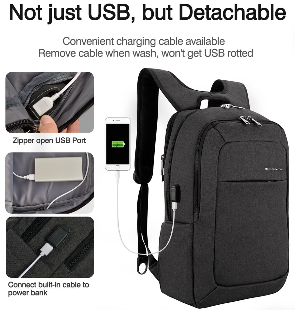 This backpack has an external USB port so that you can easily charge your phone up while on the move