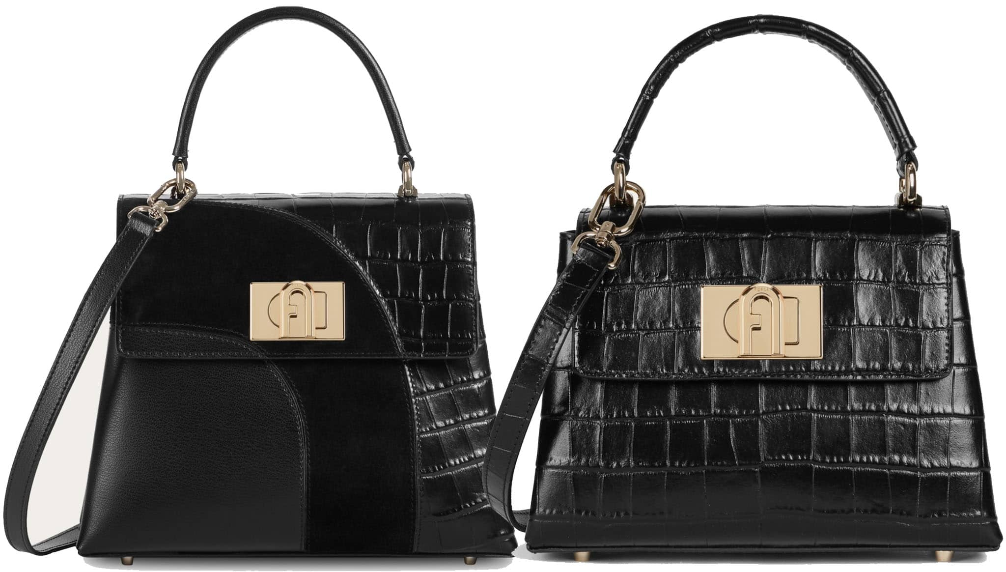 Made from croc0skin calfskin leather, the 1927 features a sophisticated look with a metal Arch logo turnlock closure
