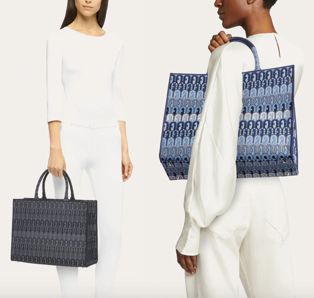 Furla's Opportunity tote is a chic large shopping bag made from jacquard fabric with an ethnic design