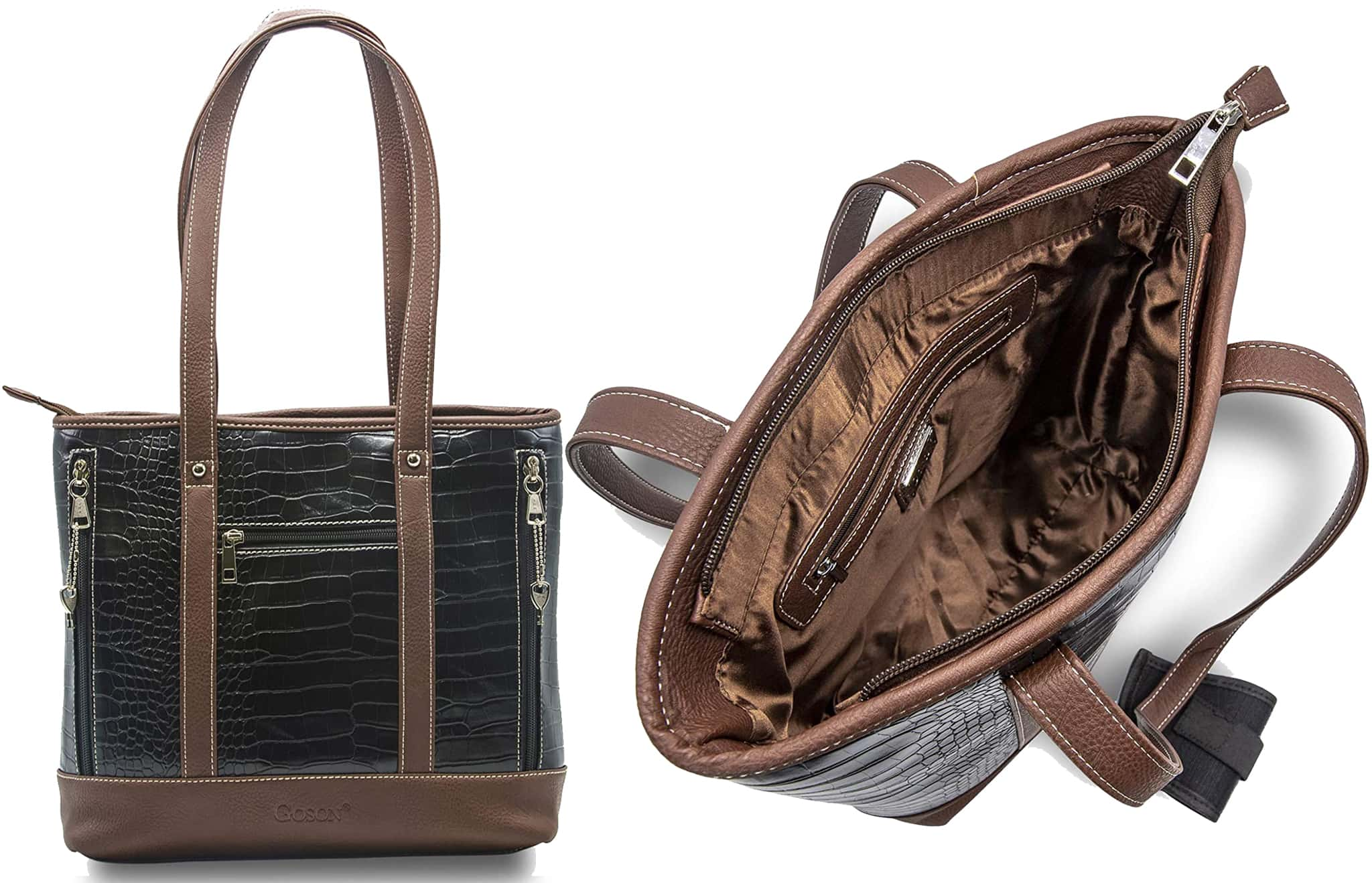 Spacious and practical, Goson's concealed carry tote has easy-access zips on either side that opens to a compartment for your firearm