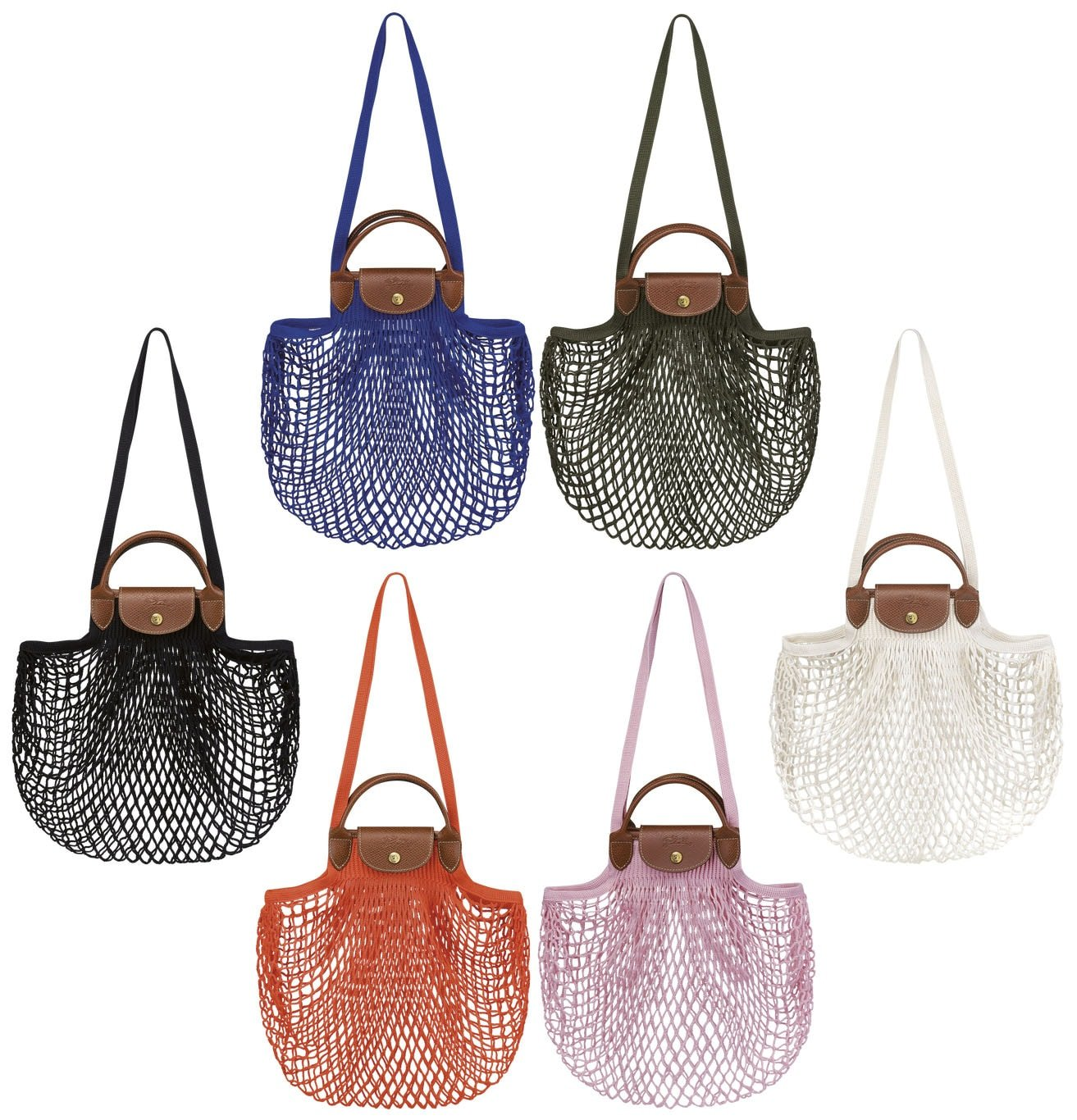 The Filet is a net shopping bag that features the Le Pliage leather handles