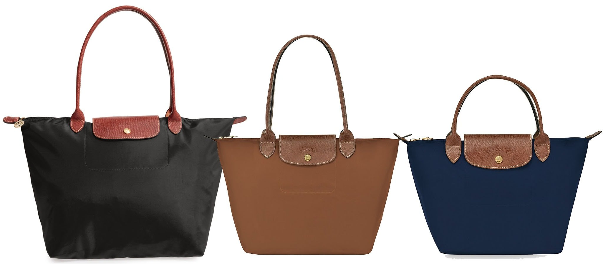 The Le Pliage is Longchamp's most popular bag style, made from nylon with embossed leather trims