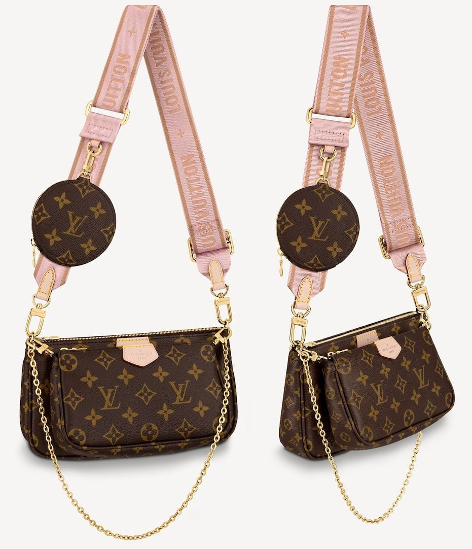 The Multi Pochette Accessoires is a crossbody hybrid of a Pochette Accessoires, a Mini Pochette Accessoires and a Round Coin Purse