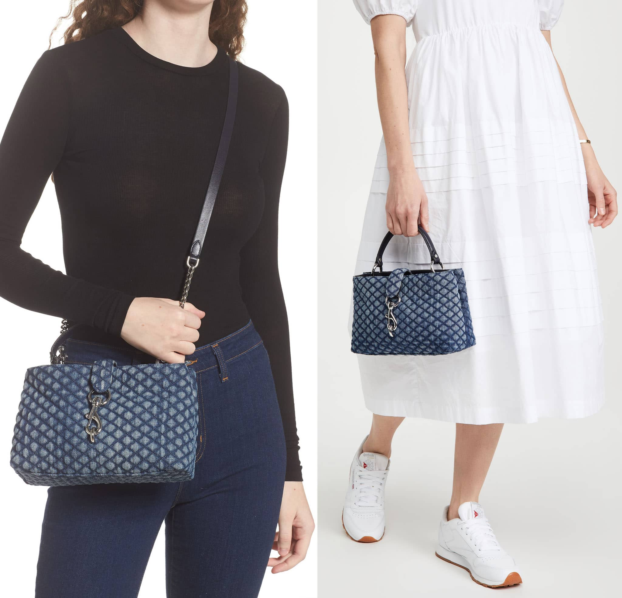 The Edie bag features a diamond-quilted denim design that brings a laid-back finish to a casual look
