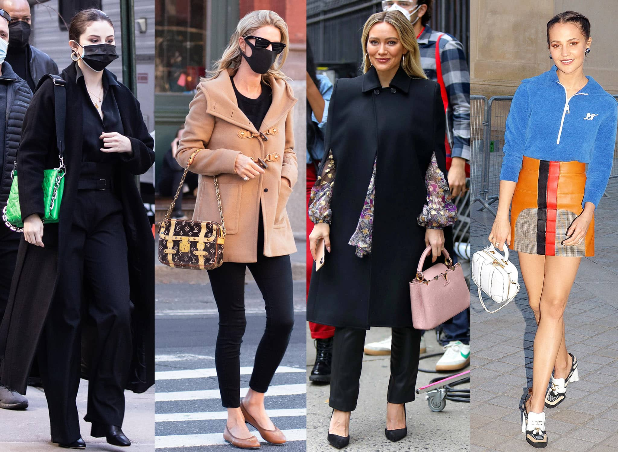 Selena Gomez, Nicky Hilton, Hilary Duff, and Alicia Vikander carrying Louis Vuitton bags