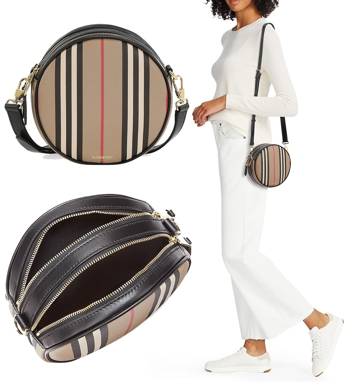 A circular purse that has Burberry's signature stripe and an adjustable convertible strap that can be worn across the body or around the waist