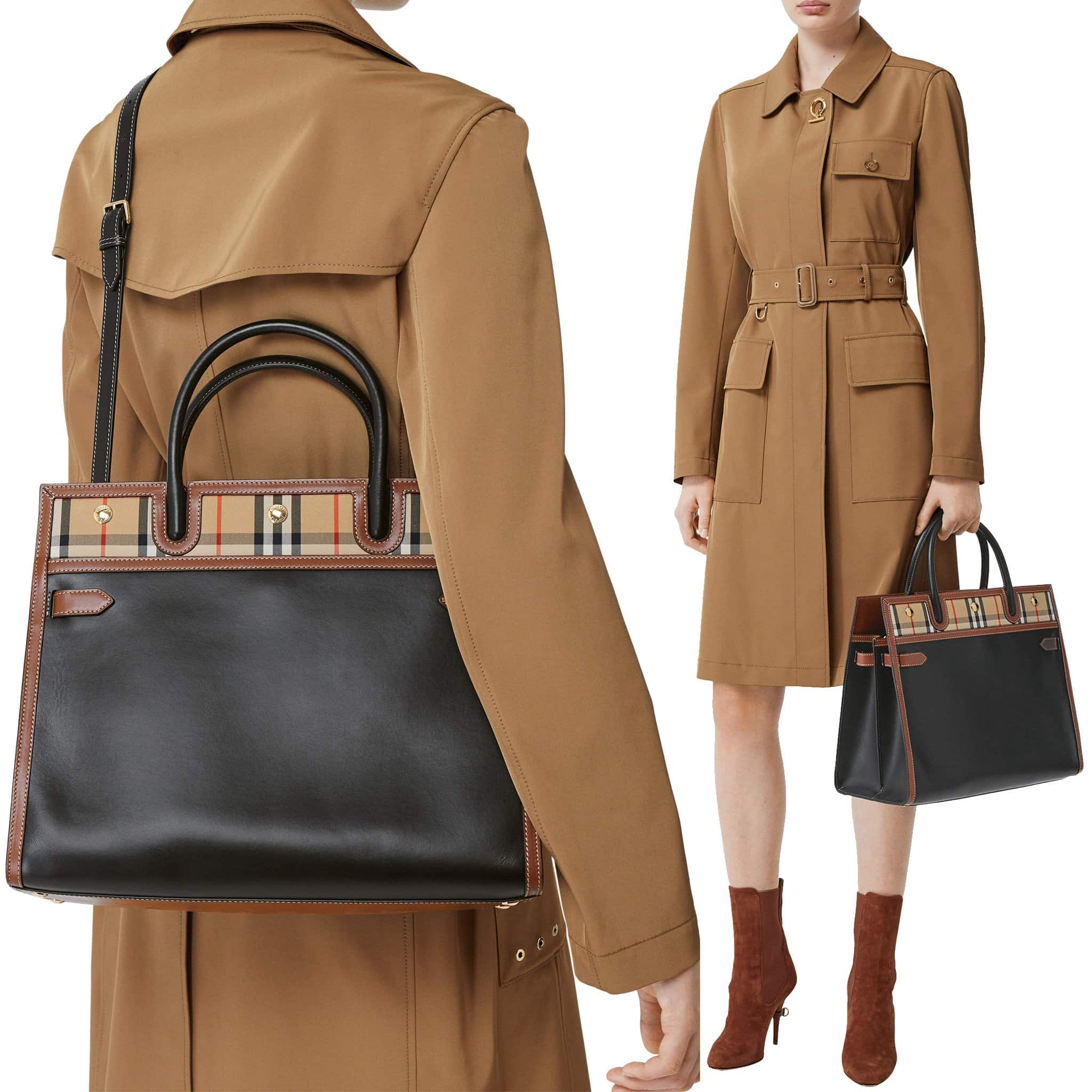 A mixture of black leather and signature check canvas with brown leather trim defines the Burberry Title top-handle bag