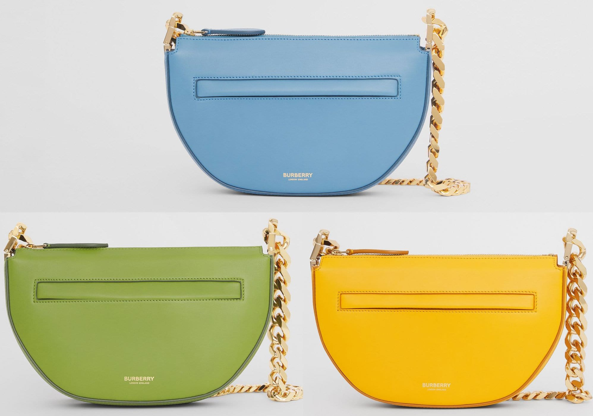 The Olympia features a slim, structured curved silhouette with a chunky chain shoulder strap