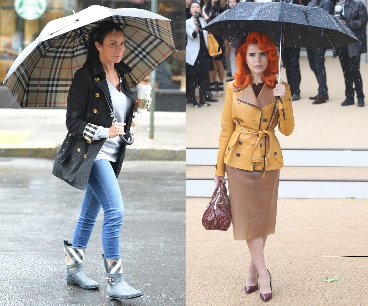 Danielle Staub carries a Burberry umbrella and Paloma Faith pairs a Burberry raincoat with neon orange hair and a burgundy handbag