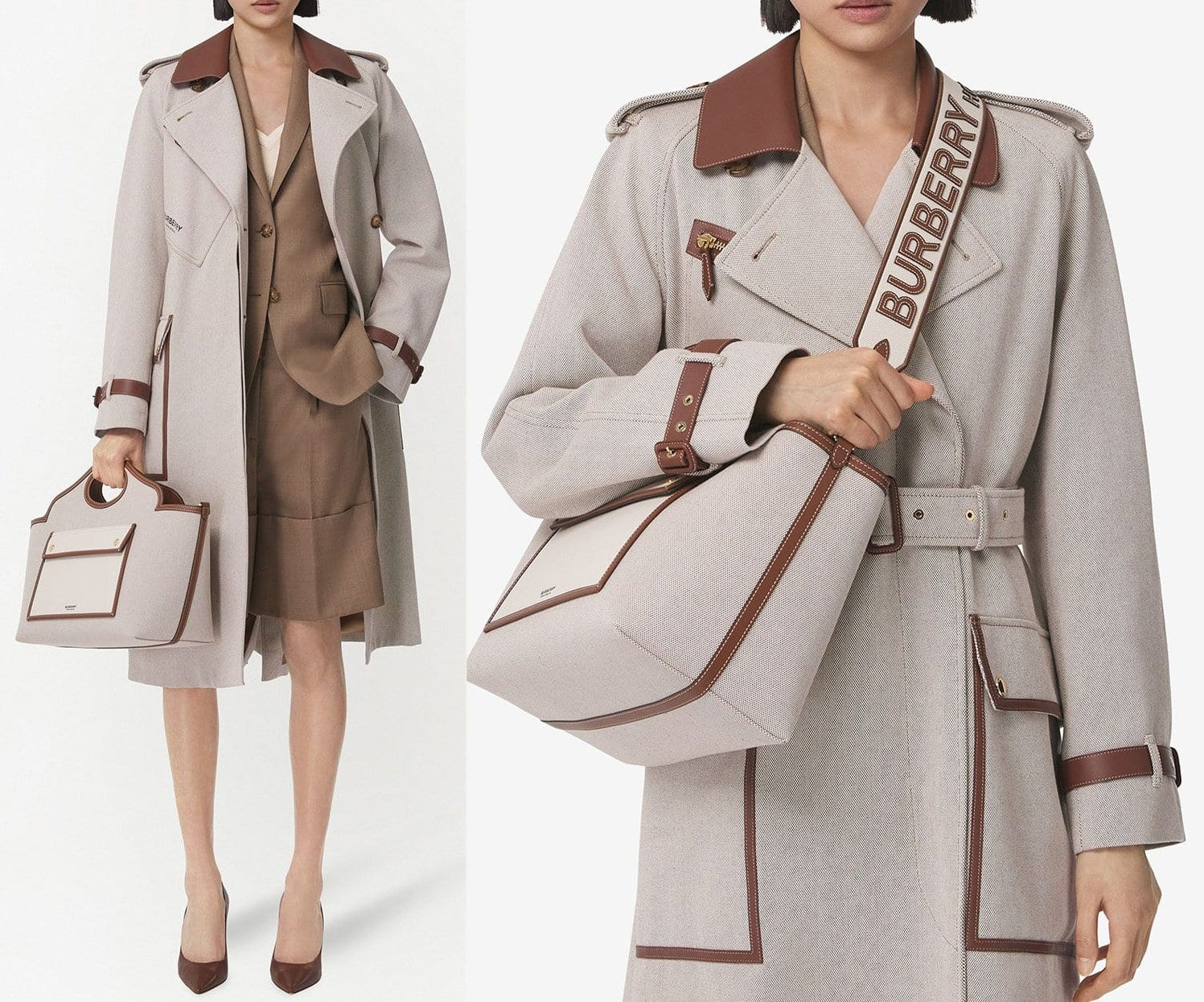 Burberry's Soft Pocket tote is a practical bag that comes with plenty of pockets, cutout top handles, and a detachable shoulder strap