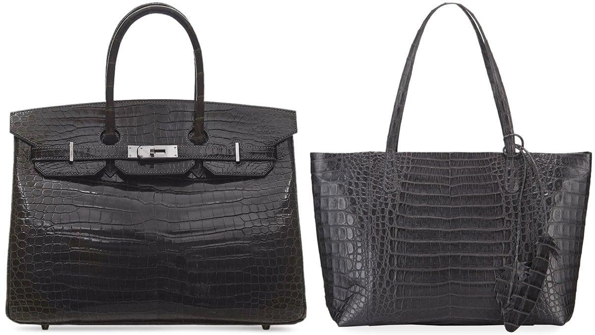 Black Hermès saltwater crocodile leather Birkin bag (L) and Nancy Gonzalez tote bag in signature Caiman crocodile (R)