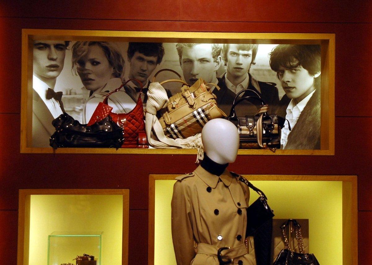 Kate Moss advertisement in Burberry's store in Knightsbridge, London