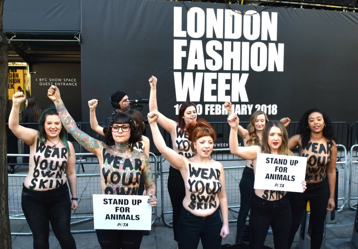 A group of female PETA supporters braved the winter weather and bared their skin for a radical vegan protest at the start of London Fashion Week in February 2018 and encouraged passers-by to stand up for animals by leaving fur, leather, shearling, and other animal-derived materials out of their wardrobes