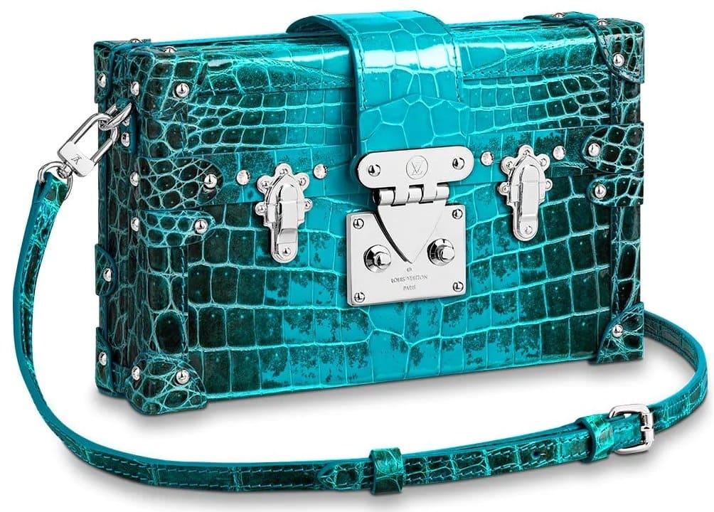 Louis Vuitton's Petite Malle handbag in turquoise-color crocodilian leather retails for $30,000