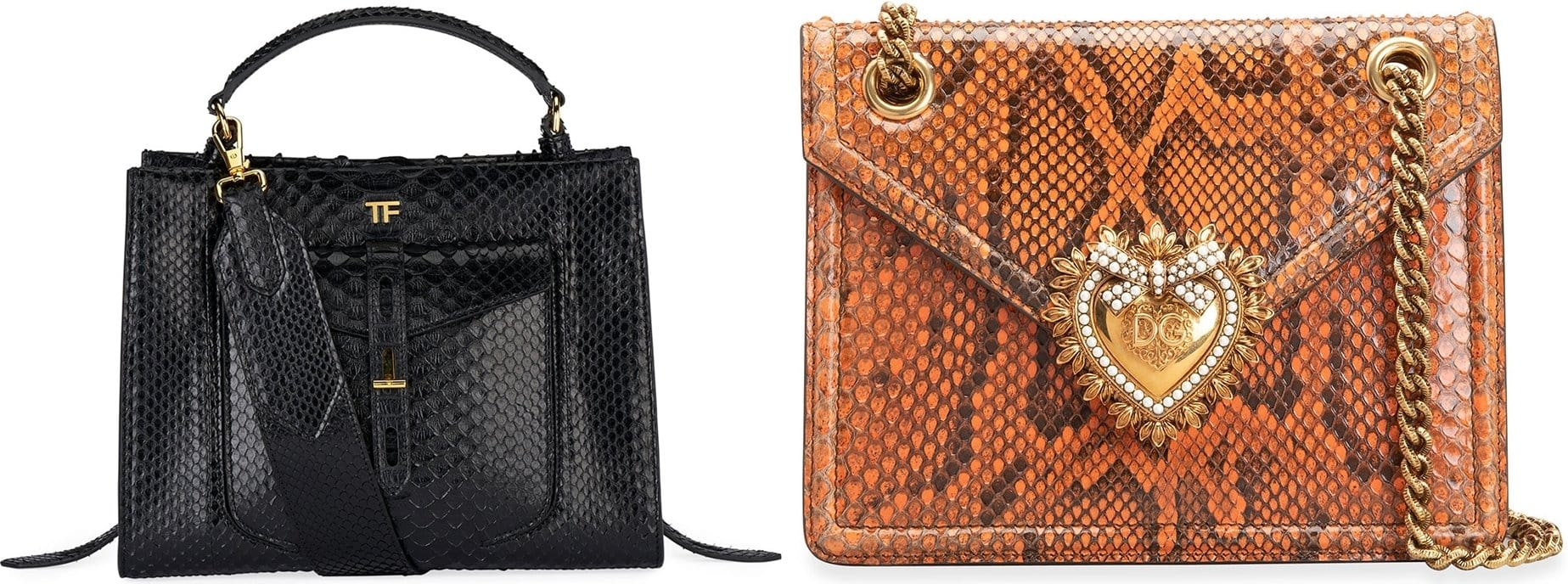 Tom Ford top-handle bag in genuine python snakeskin (L) and Dolce & Gabbana python crossbody bag with leather trim (R)