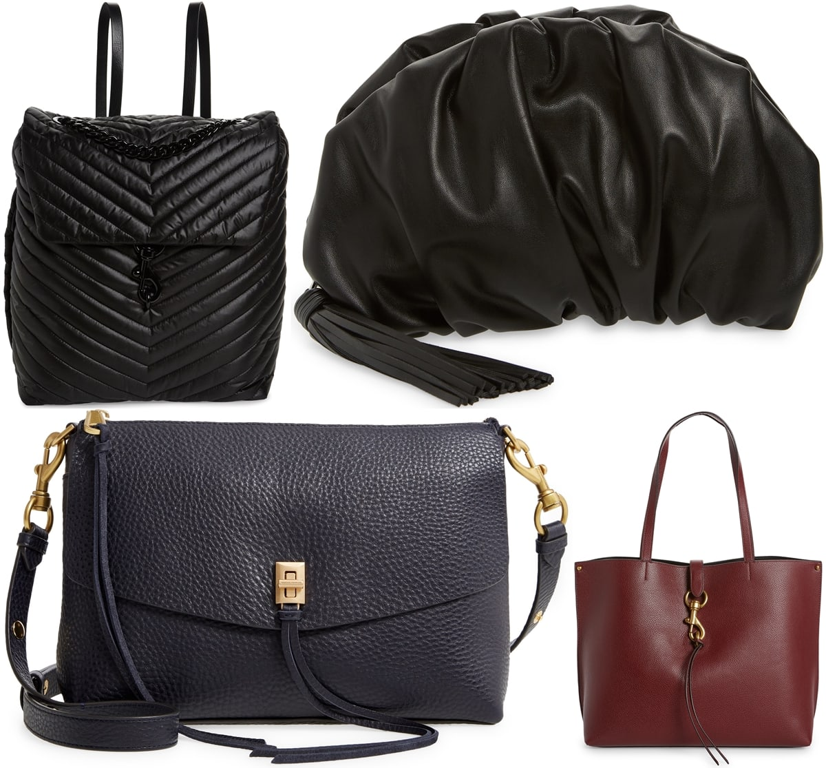 Rebecca Minkoff backpack, clutch, shoulder bag, and tote