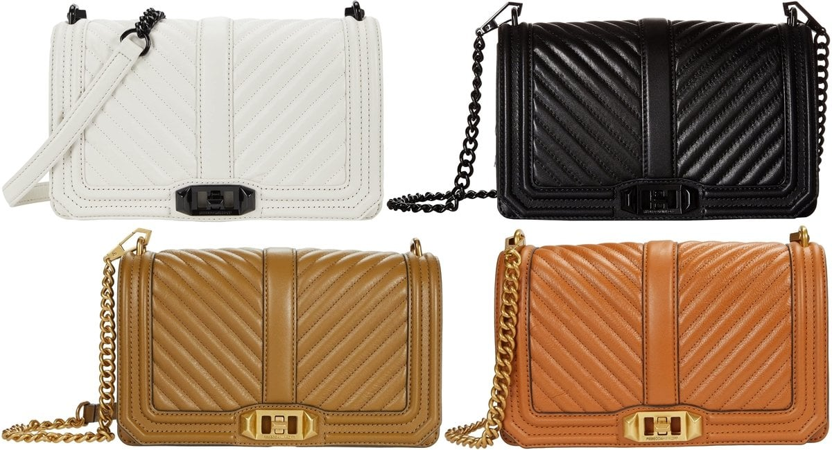 Stick to timeless fashion with this Rebecca Minkoff's best-selling chevron-quilted Love crossbody leather bag