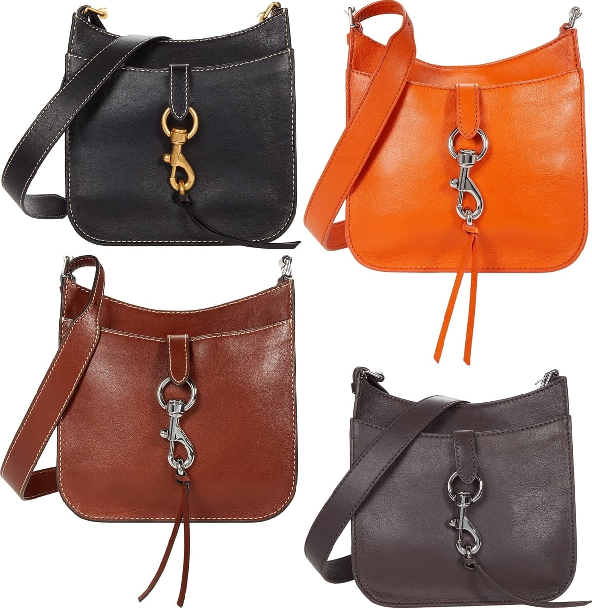 Rebecca Minkoff''s Megan Soft Small Feed Crossbody features metallic hardware closures that keep everything safe