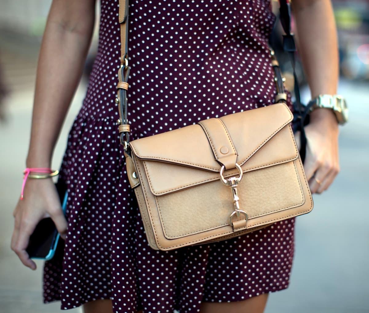 Sara Escudero shows off her authentic Rebecca Minkoff handbag during New York Women Fashion Week