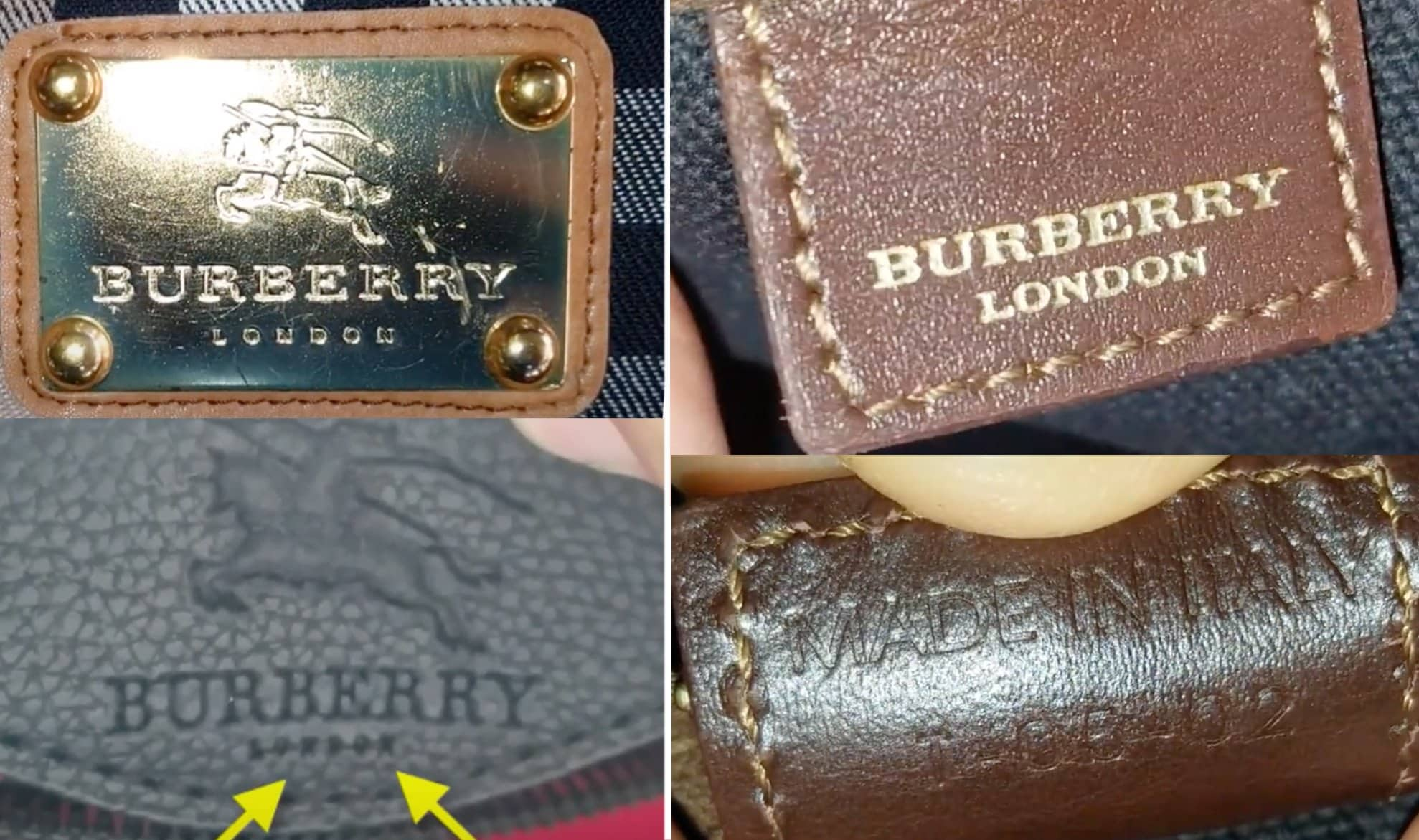 Screenshots from Voice of People Today YouTube channel show that fake Burberry bags (left) have inferior quality stamps, while original Burberry bags (right) have neat stamps and seamless calligraphy