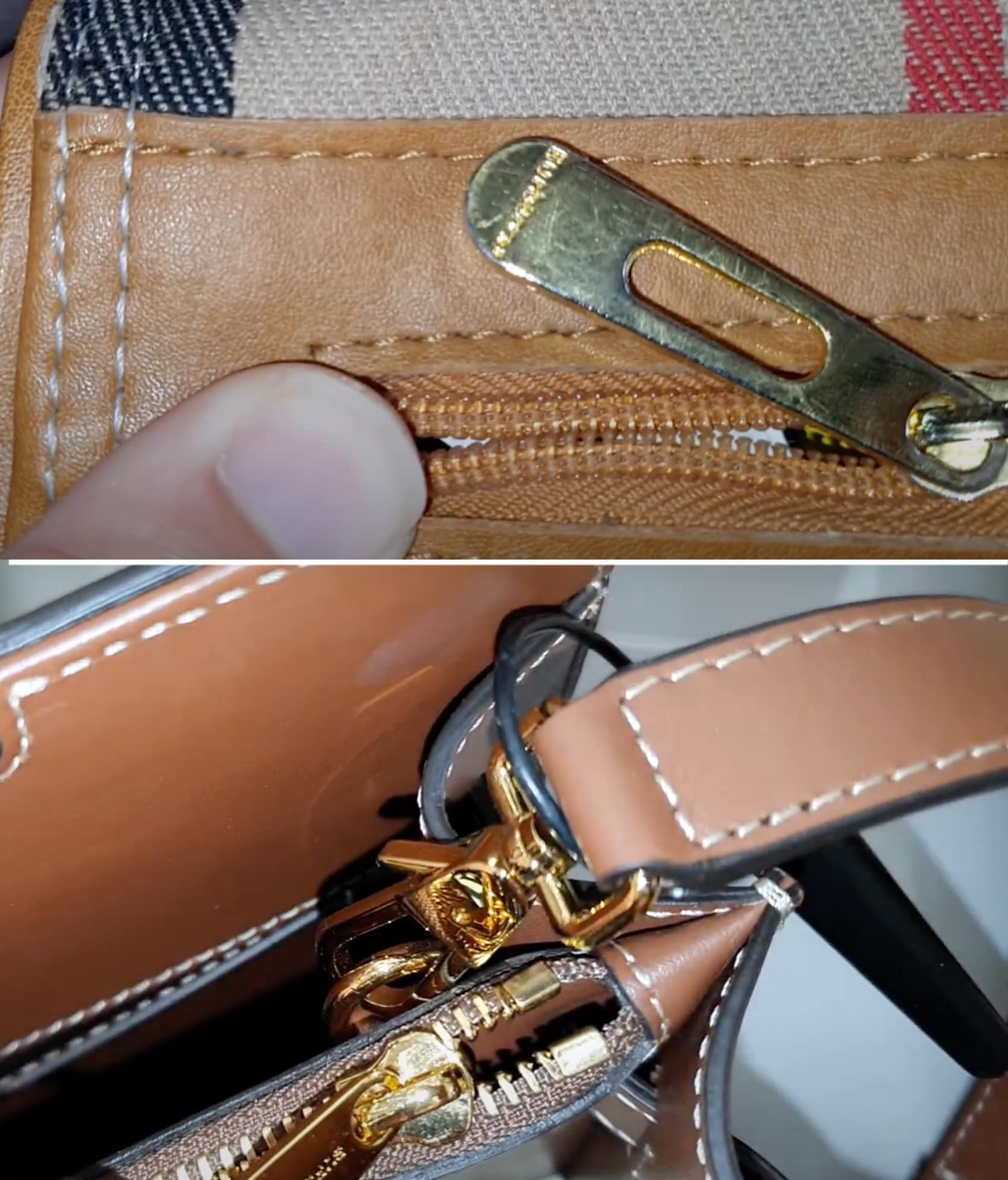 Fake Burberry bags have faded metal and uneven stitchings (top), while real Burberry bags (bottom) have polished metal and even and sturdy stitchings