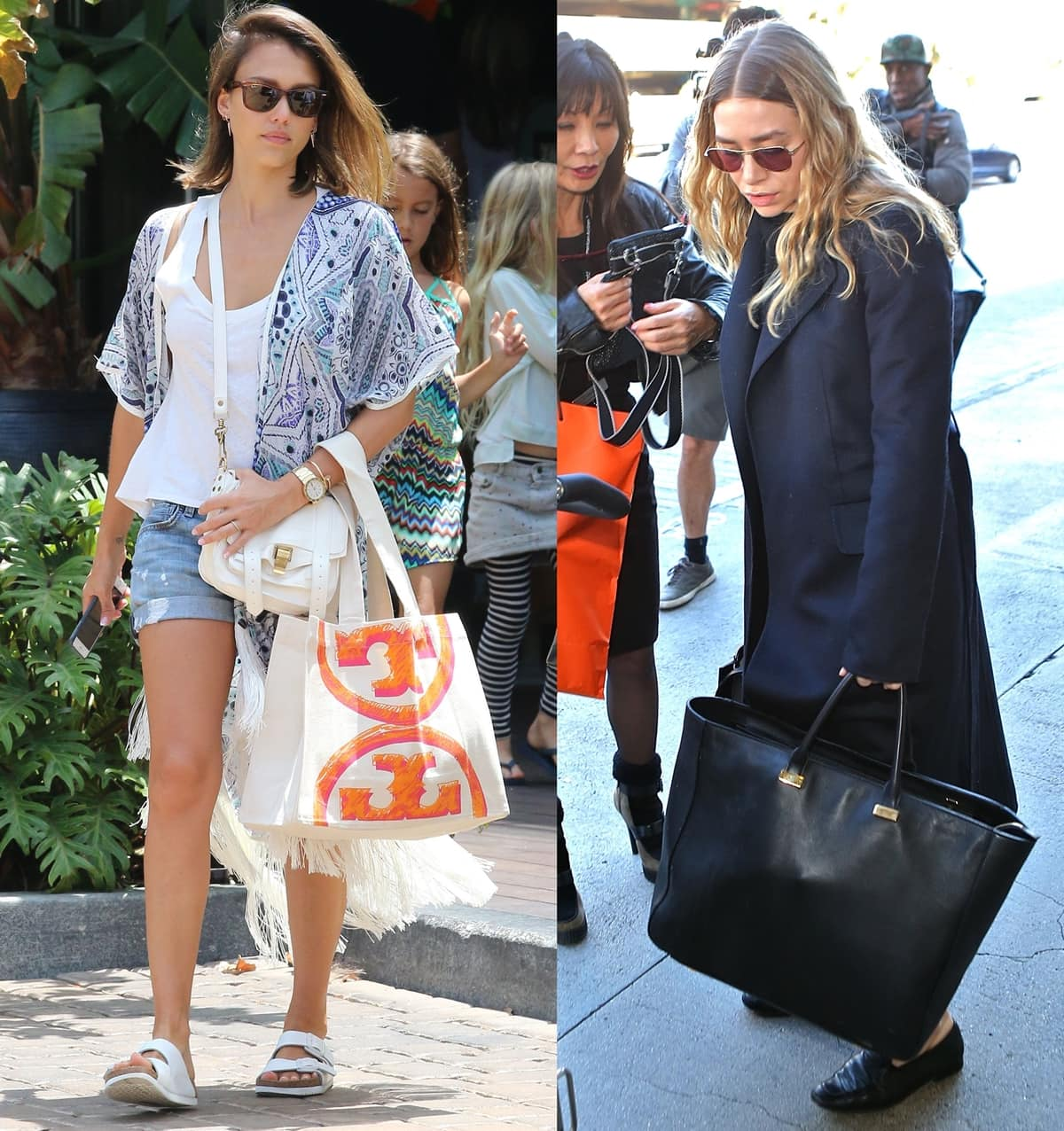 Jessica Alba and Ashley Olsen carry Tory Burch bags