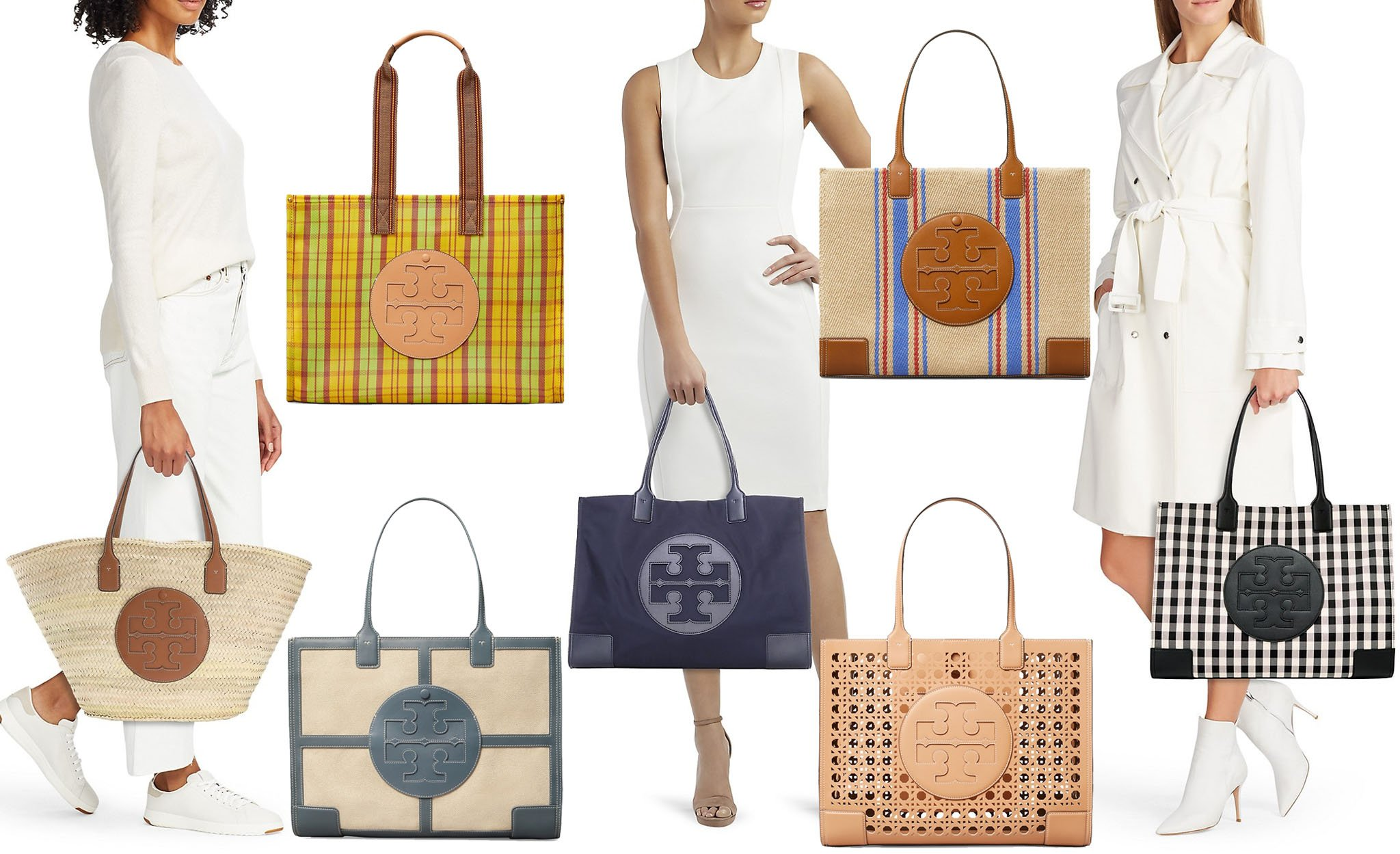 The Ella bag comes in a variety of silhouettes but is easily identified by the large T-logo medallion on the center front