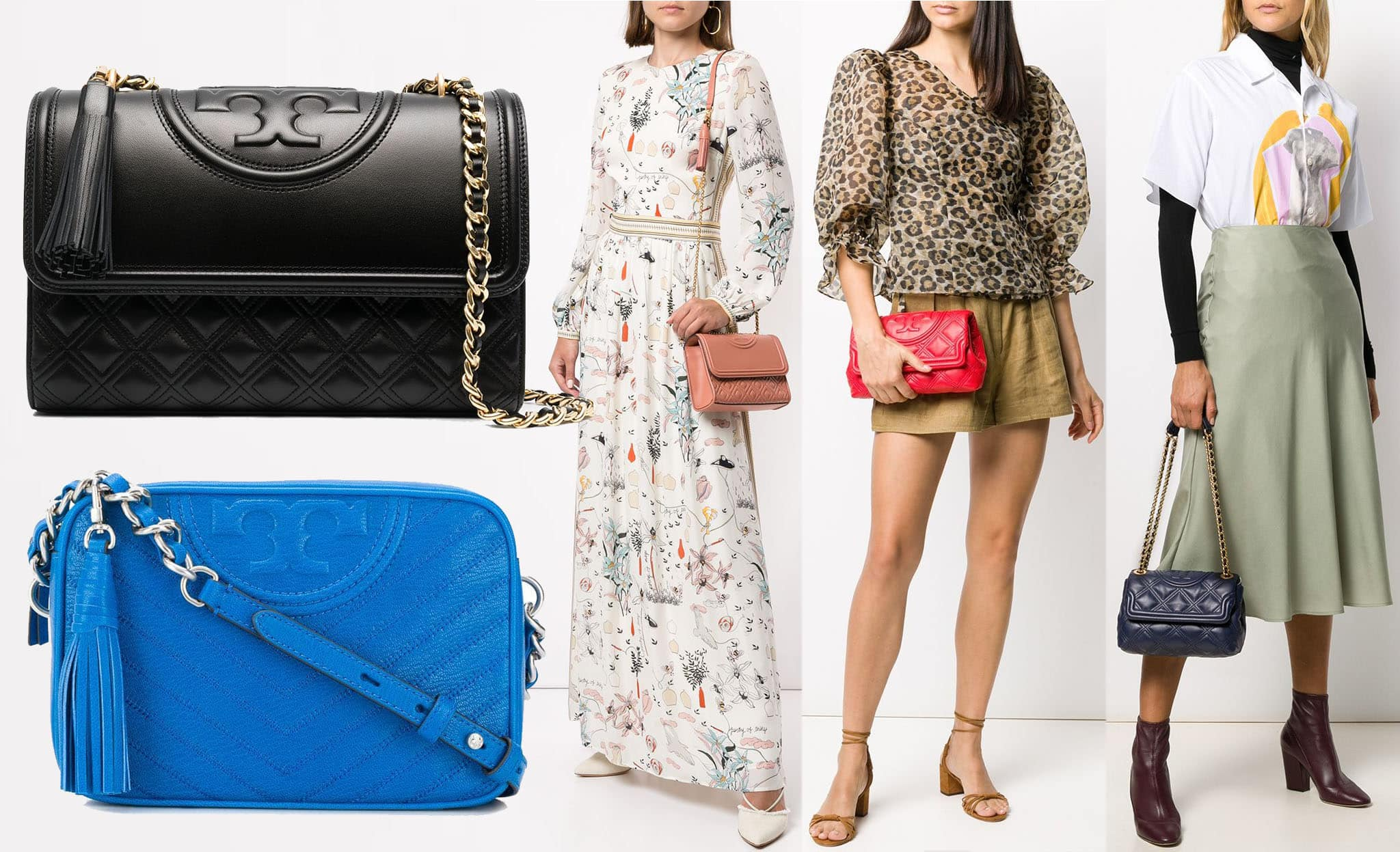 Embossed bombé double T logo and diamond quilting define the Tory Burch Fleming bag