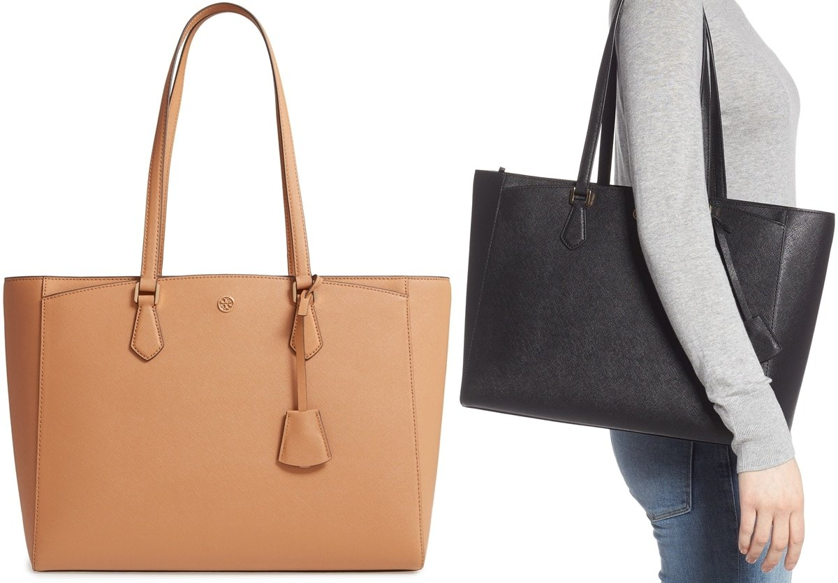 Tory Burch's popular Robinson handbags are made from scratch-resistant Saffiano leather